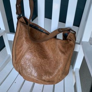 Vintage Embossed Leather Fossil Hobo